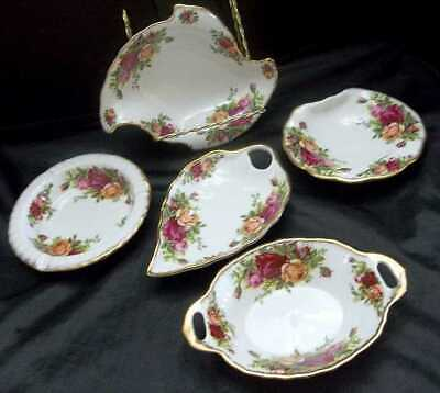5 Royal Albert Old Country Roses Condiment Sweet Meat Dishes Bowls Set England