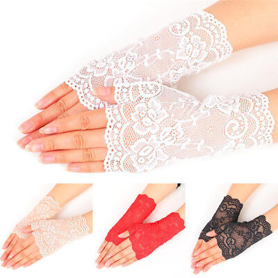 New Women Evening Bridal Wedding Party Dressy Lace Fingerless Gloves Mittens  JB