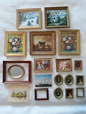 Dollhouse Miniature Vintage Paintings & Picture Frames Lot 1:12 Scale 19 Total
