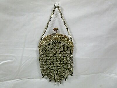 Old Antique Victorian Silver Toned Metal Chain Mesh Link Chatelaine Coin Purse