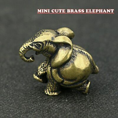 Statue Elephant Brass Vintage Pocket Figure Sculpture Desk Decorative Ornament