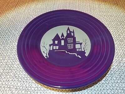 """Discontinued Fiestaware Haunted House 9"""" Luncheon Plate On Plum"""