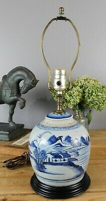 Antique Qing Chinese Blue and White Landscape Ginger Jar Lamp Conversion