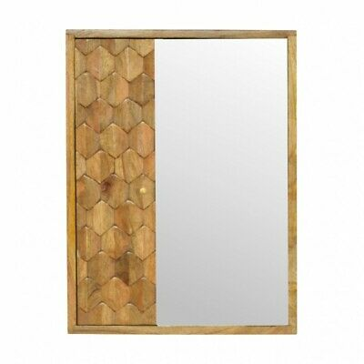 Carved Solid Wood Bathroom Mirrored Wall Cabinet With Shelving 58cm x 44cm
