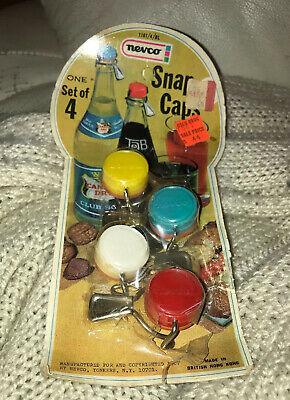 Vintage Nevco Soda Bottle Snap Caps Set Of 4 New Made In British Hong Kong 1967