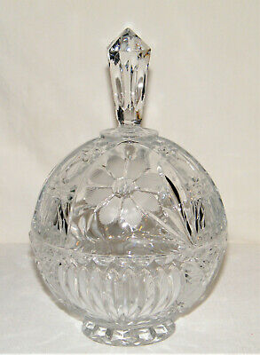Gorgeous Vintage Tall LEAD CRYSTAL ROUND LIDDED COMPOTE Candy Dish Flowers EX!