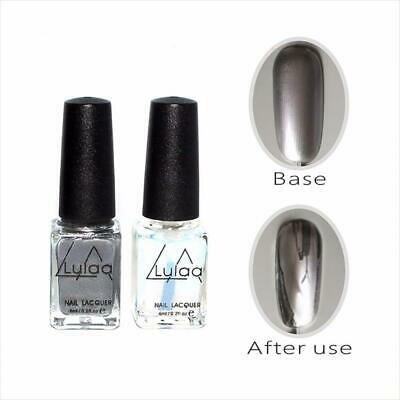 Chrome Nail Polish Set Magic Mirror Silver Effect Lacquer New Varnish Shiny Gel