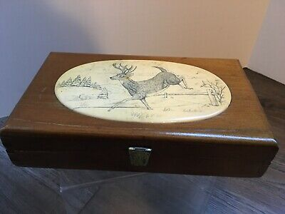 GES Gesch Treasure Box Wood Dovetail with Inlaid Etching Whitetail Deer Germany