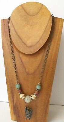 Antique Chinese Buddha Pendant Carved Jade Gemstone Ball Bead Chain Necklace