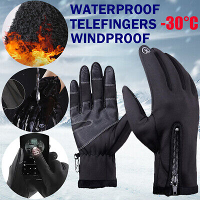 Men Women Touch Screen Gloves Zipper Thermal Winter Sports Skiing Warm Mittens