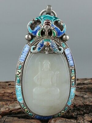 Chinese Exquisite Hand-carved Buddha Carving silver mosaic Hetian jade Pendant