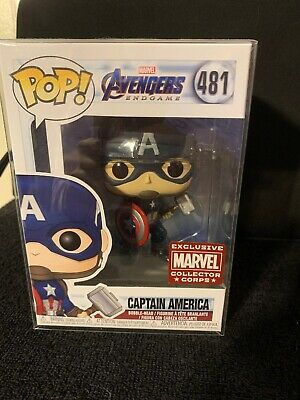 Funko Pop Avengers Endgame Captain America w Mjolnir Marvel Collector Corps