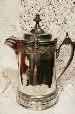 "Antique 1878 Aesthetic Silver Plated Reed/Barton Ceramic  Ice Water Pitcher 14""H"