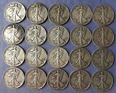 Walking Liberty Half Dollars: (20) Coin Lot - 90% Silver Lot #2