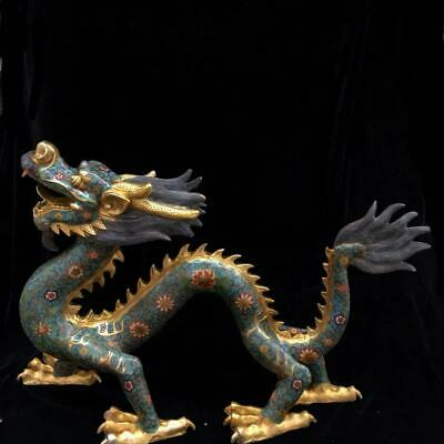 Chinese Exquisite Handmade Dragon copper Cloisonne statue