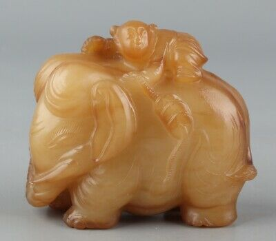 Chinese Exquisite Hand carved Elephant child Carving Hetian jade statue