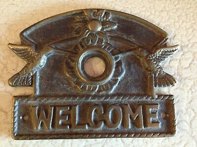 Vintage Brass Hummingbird Door Bell Plate Cover - Beautiful Piece