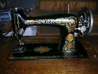 Antique Singer Sewing Machine Model 66-1 Red Eye Cabinet Table 1912 Cast Iron