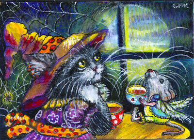 ACEO Original Art Cat Kitten Mouse Halloween Tea Moonlight  Miniature Painting