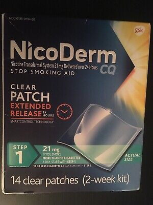 NicoDerm Clear Patch Extended Release Step 1 21 mg 14 Patches 2 week Sealed Box