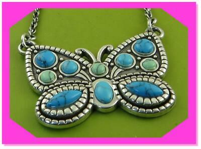 BRIGHTON BUTTERFLIGHT Turquoise Blue Silver Lovely NECKLACE NWTag