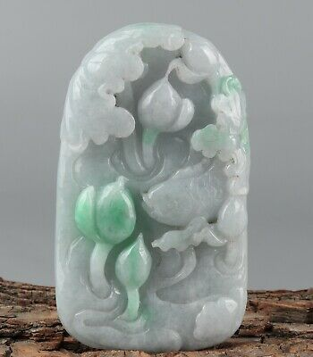 Chinese Exquisite Hand carved lotus fish Carving jadeite jade Pendant