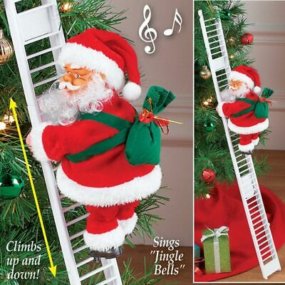 Musical Climbing Ladder Santa Claus Father Christmas Xmas Figurine Decor Kids