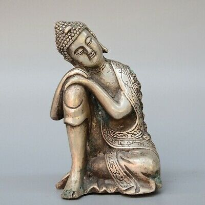 Collectable China Old Miao Silver Carve Sleep Buddha Auspicious Buddhism Statue