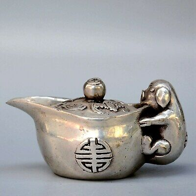 Collectable Old Miao Silver Hand-Carved Lovely Pig Hug Wealth Auspicious Tea Pot