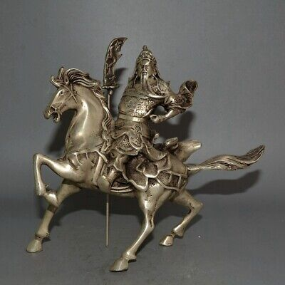 Collectable Old Miao Silver Carve Guan Yu Hand Held Broadsword Ride Horse Statue