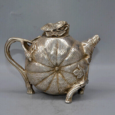 Collectable China Old Miao Silver Hand-Carved Pumpkin & Cicada Delicate Tea Pot