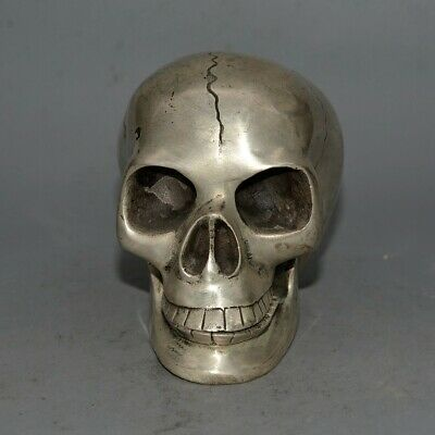 Collectable China Old Miao Silver Hand-Carved Wicked Skull Delicate Decor Statue