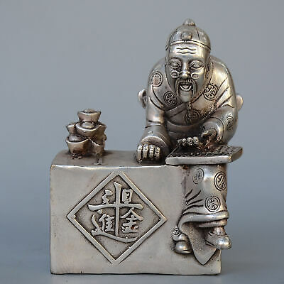 Collect China Old Miao Silver Hand-Carved Landlord And Wealth Auspicious Statue