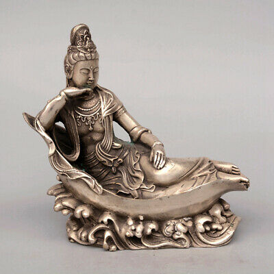 Collect China Old Miao Silver Hand-Carved Kwan-Yin Sleep Delicate Vivid Statue