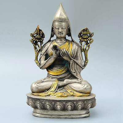 Collect China Old Miao Silver Hand-Carved Bodhisattva Pray Fine Buddhism Statue