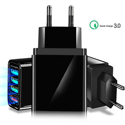 Quick Charge QC 3.0 4 Port USB 5V Phone Wall Home Travel AC Fast Charger Adapter