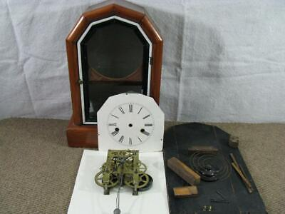 Antique USA Mantle Clock Movement, Hands, Face, Case Parts for REPAIR or PARTS*