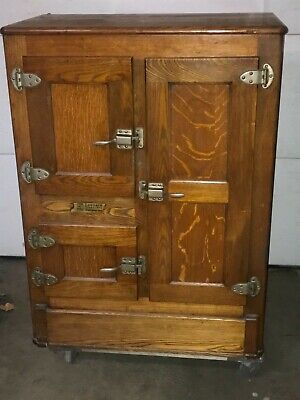 Antique Oak Ice Box Leonard Cleanable Porcelain Lined,3 cabinets with 3 racks