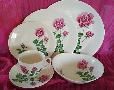 Vintage Johnson Brothers Made in England dinner set 1950s JB612 Rare Rose 36 pc