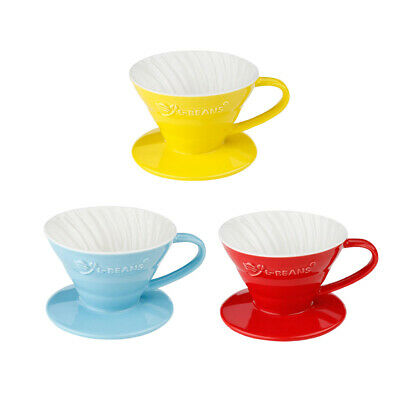 Porcelain Manual Coffee Dripper Paper Filter Cup Cone for 1-2 Cups 3 Colors