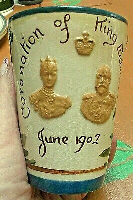 TORQUAY antique Tumbler/Beaker 1902 Coronation King Edward VII & Alexandra