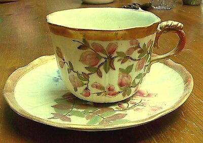 Exceptional Antique Royal Worcester blush ivory Cabinet Cup & Saucer dated 1888
