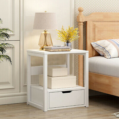 2x Telephone Table Plant Stand Bedside Hall Lamp Wood Unit Side Drawer Grey