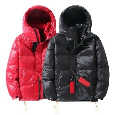 Mens Shiny Wet-Look Duck Down Quilted Hooded Jacket Overcoat Puffer Parka