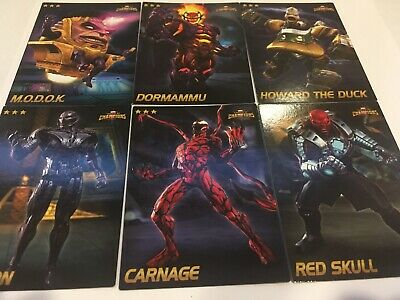 Marvel Cards 6-Rare Cards Mint Dave Busters Arcade Game Contest Of Champions