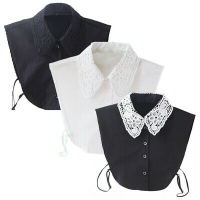 US Women Vintage Dickie Lady Embroidery Lace Fashion Detachable False Collar