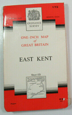 1966 Old Vintage OS Ordnance Survey Seventh Series One-Inch Map 173 East Kent