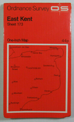 1969 Old Vintage OS Ordnance Survey Seventh Series One-Inch Map 173 East Kent