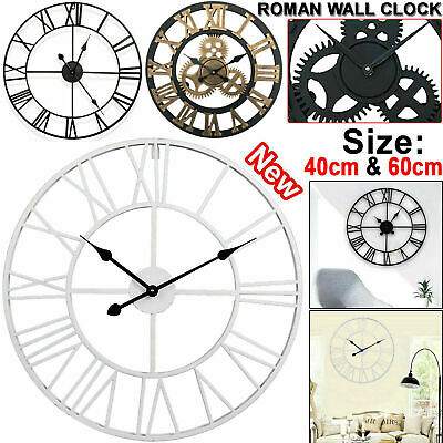 40/60CM Large Outdoor Garden Wall Clock Metal Roman Numeral Round Face White UK
