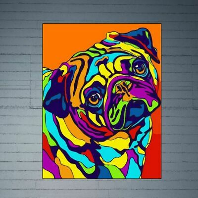 Colorful Dog Frameless DIY Digital Oil Painting By Numbers Canvas Wall Picture